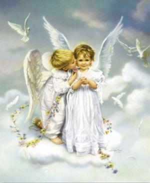 ちゅーをする可愛らしい天使。